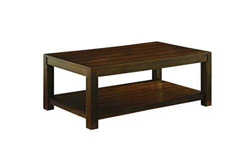 Ashley Furniture Signature Design - Grinlyn Coffee Table - Cocktail Height with Lower Shelf - Rectangular - Rustic Brown - Mission Square Coffee Table