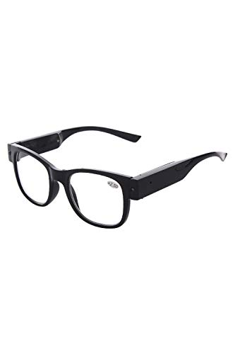 Tide USB Rechargeable Led Reading Glasses Smart Lighted Eyewear for Women Men (Black, 2.5X)