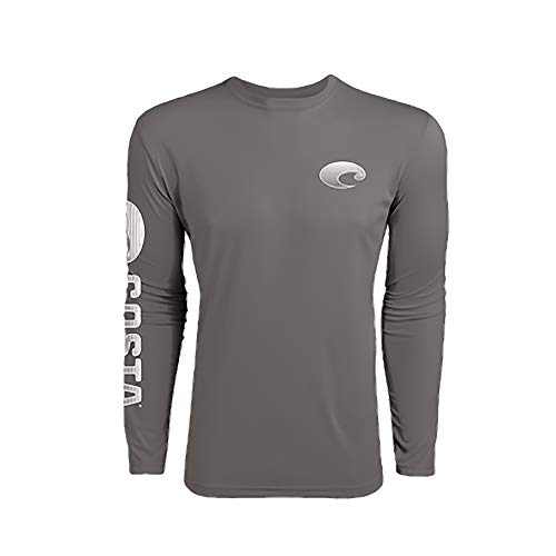 Technical Life - Costa Del Mar Men's Technical Crew Long Sleeve Shirt-Gray-Large