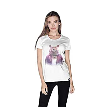 Creo Bear Pug Life Round Neck T-Shirt For Women - M, White