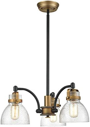 WILDSOUL 10013BK 20 3 Light Modern Farmhouse Seeded Glass Dining Room Rod Chandelier Pendant, LED Vintage Rustic Oak Wood Bedroom Kitchen Hanging Light, Swivel, Matte Black Antique Brass Finish