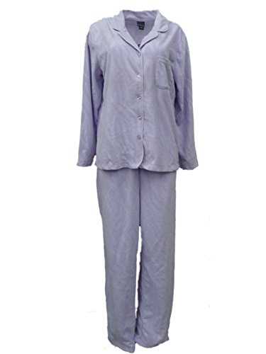 Covington Womens Purple Zebra Stripes Fleece Pajamas Collared Sleep Set L ()
