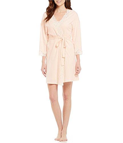 LAUREN RALPH LAUREN Signature Collection Jersey Knit Wrap Robe - 55% pima Cotton 45% Modal (L, Pink) ()