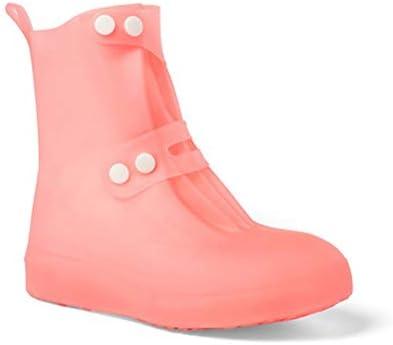 シリコーンオーバーシューズ、靴はメンズ・レディース・キッズのために雪の防水再利用可能なすべりにくい雨靴ケースをカバー (Color : Pink, Size : L)