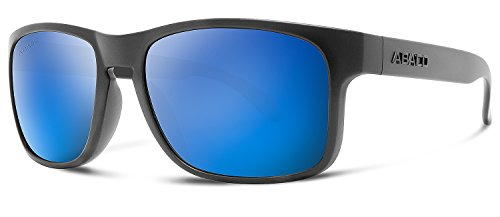 Abaco Dockside Sunglasses Matte Black Frame Polarized Blue Mirror - Glasses Tag Online