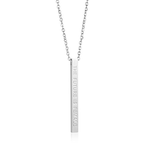 Joycuff Feminist Jewelry for Women Vertical Bar Necklace Inspirational Mantra the Future is Female - Future Jewelry