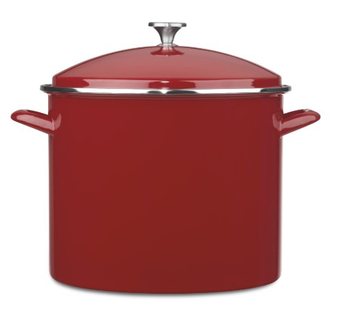 20 quart stock pot red - 5