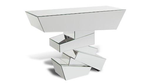 Zuri Furniture Naxos Glass Mirrored Console (Deco Occasional Tables)