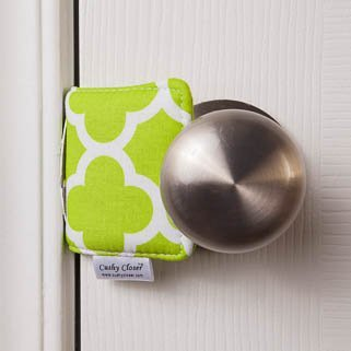 The Original Cushy Closer Door Cushion - Chloe Green - Qautrefoil | No More Noisy Doors! | Door Latch Cover- Baby Safety for Quiet Doors-Child Proofing by C&G Family Products, Inc. (Image #1)