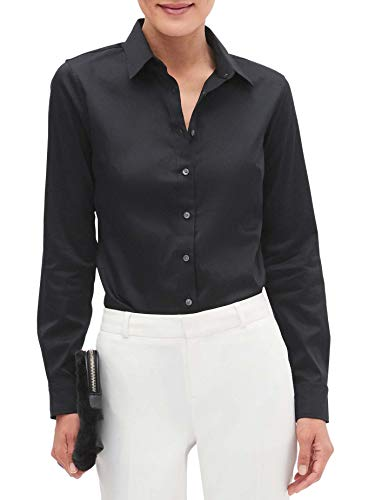 BANANA REPUBLIC Womens Tailored Fit Non-Iron Black Button Down Shirt (US: 14)