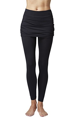 (TLC Sport Womens Slimming Shaping Gathered Tights/Leggings Pants with Skirt)