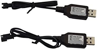 Blomiky 2 Pack 4.8V 250mA USB Charger Power Adapter Cable for C181 C182 C185 540 520 Ni-cd Battery 1:18 4WD Off Road Car Vehicle SM 2P USB 4.8V 2