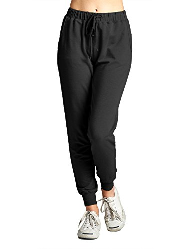 Plus French Terry Pants (BOHENY Womens Two Tone French Terry Jogger Pants Plus Size (S-3X)-2X-BLACK)