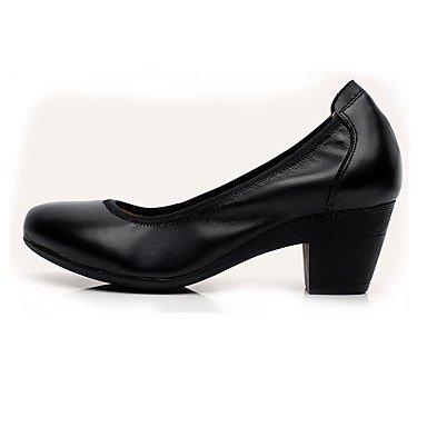 Zapatos Y Cuero Tacones Almendra Otoño Formales Tacón Black Lvyuan Café ggx Mujer Robusto Primavera Cms 12 Más Negro tqZURU