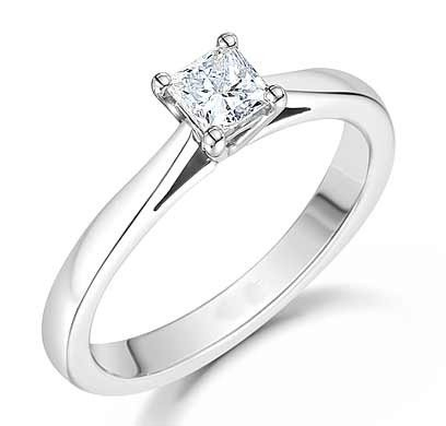 0.38 Ct Princess Diamond (0.38 Carat Solitaire Cheap Engagement Ring for Women with Princess cut Diamond on 18K White gold)