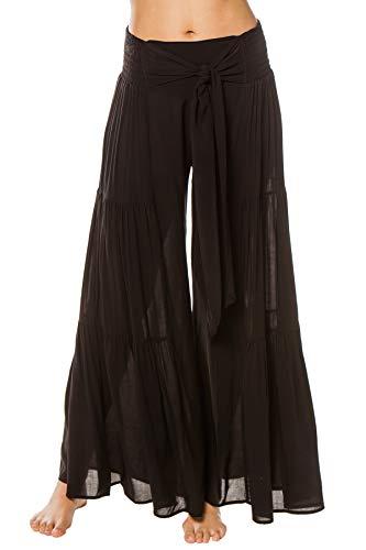 Elan International Women's Wovens Wide Leg Bow Tie Pants Swim Cover Up Black S (Elan Swimwear)