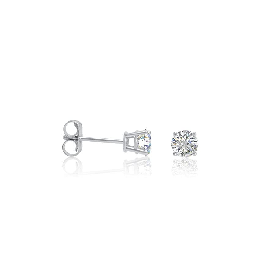 AGS Certified 1/2ct tw.Round Diamond Stud Earrings set in 14K White Gold