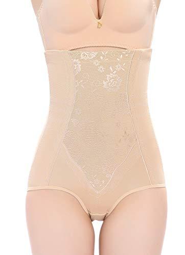 Vlazom Body Shaper High Waisted Tummy Control Butt Lifter Pattern Shapewear Cotton Slimming Briefs Waist Cincher for Women Beige