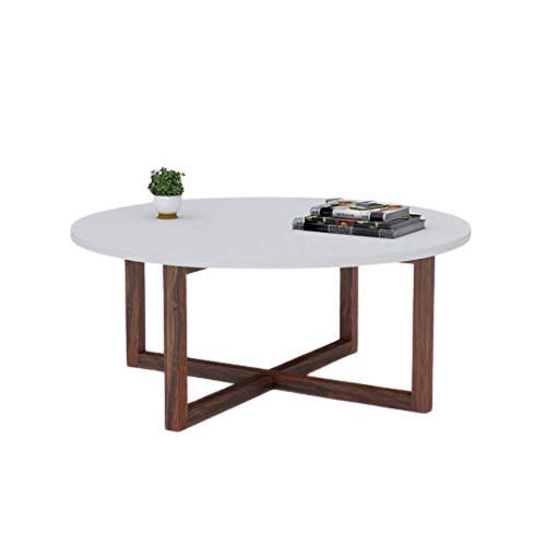 Forestwood Alicea Wooden Mdf Round Coffee Table With Solid Wood Legs Sofa Table Center Table Home Furniture White Size 30 X 17 5 Inch Width X Height Amazon In Home Kitchen