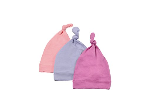 (KYTE BABY Organic Bamboo Rayon Baby Beanie Hats - Super Soft Knotted Caps Available in Pattern and Solid Colors - 3 Pack (3-6 Months, Lilac/Blossom/Petal))