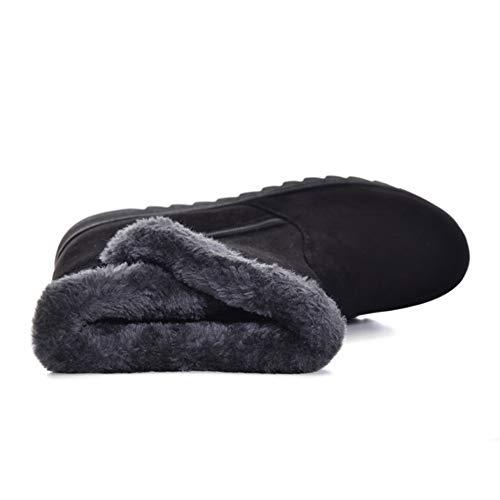 Slip Snow Anti KUBAO Winter Plush Skid Boots Womens Flat On Lining Outdoor Ankle Brown Waterproof qzU1waU