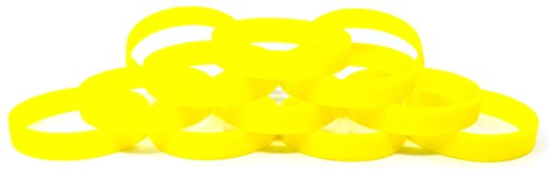 1 Dozen Multi-Pack Yellow Glow-in-the-Dark Wristbands Bracelets Silicone Rubber - Select from a Variety of Colors (Adult (8