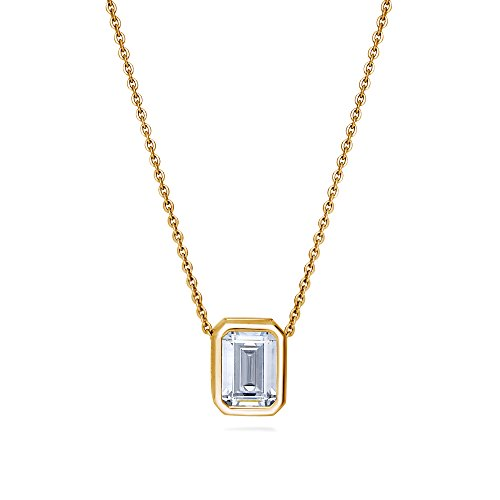 Emerald Cut Solitaire Pendant - BERRICLE Yellow Gold Flashed Sterling Silver Emerald Cut Cubic Zirconia CZ Solitaire Anniversary Wedding Pendant Necklace 1.74 CTW