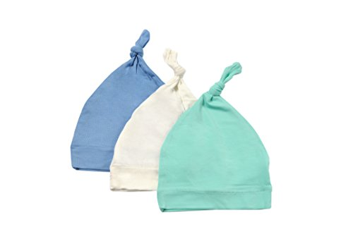 Kyte BABY Organic Bamboo Baby Beanie Hats - Super Soft Knotted Caps Available In Pattern and Solid Colors - 3 Pack (0-6 Months, Cloud/Aqua/Sky)