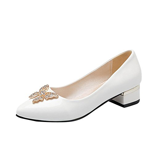 Latasa Womens Fashion Butterfly Pointed-Toe Low Chunky Heel Synthetic Patent-Leather Pumps Shoes White gwmqhxW
