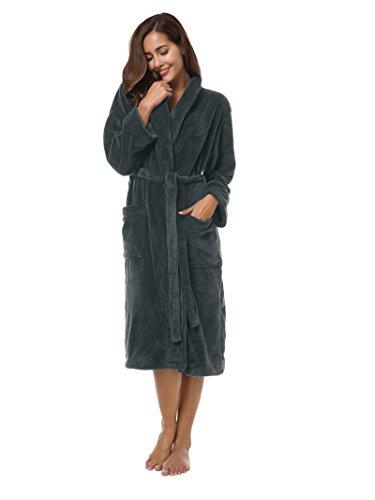 SIORO Womens Fleece Robes, Soft Warm Plush Bathrobe for Spa Shower Lounging, Shawl Collar Sleepwear for House Hotel Steel Gray M ()