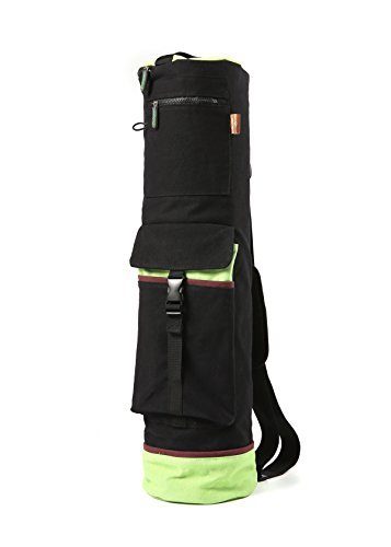 "Heathyoga Yoga Bag 28""L x 8""D, Multi Functional Storage Pockets, 100% Cotton Canvas with Shrink Proof Design."