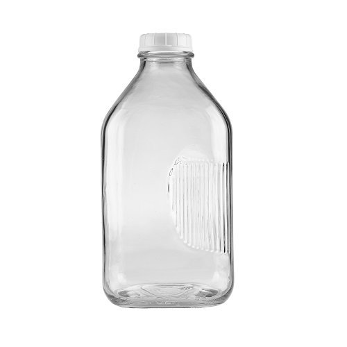 The Dairy Shoppe Heavy Glass Milk Bottle 64 Oz Jug with Extra Lid (1, 64 oz)