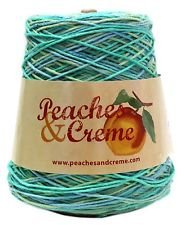 - Peaches & Creme (Cream) Cotton Yarn 14 oz. Cone (Ocean Stripes)