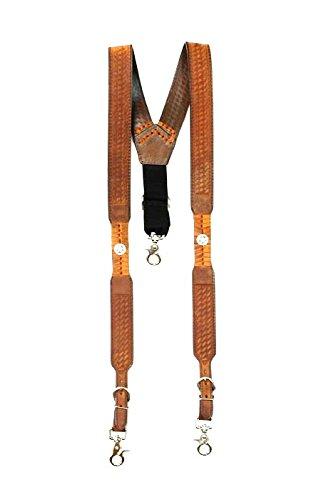 Concho Western Leather (M & F Western Men's Nocona Embossed Basketweave Star Concho Suspenders Med Brown)