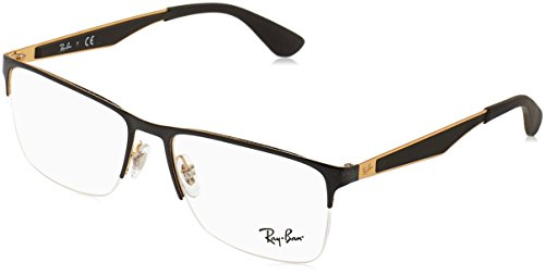 Ray-Ban RX6335 Rectangular Metal Eyeglass Frames, Black on Gold/Demo Lens, 56 mm (Ray-bans Rx)