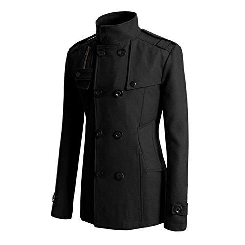 Woolen Apparel Sleeve Winter Business Breasted Outerwear Double Coat Woolen Slim Schwarz Men's Long Men's Coat Lapel Jacket Coat Vintage Huixin Trench Men's Fashion vpfqZ5