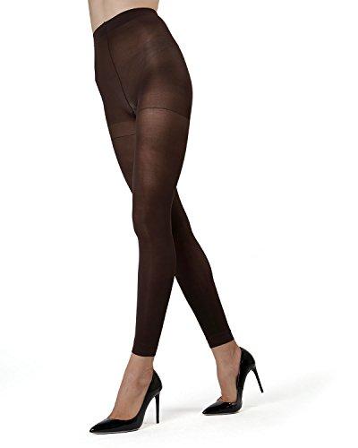 Brown Footless Tights (MeMoi Control Top Footless Tights MO-321 Dark Chocolate Small/Medium)
