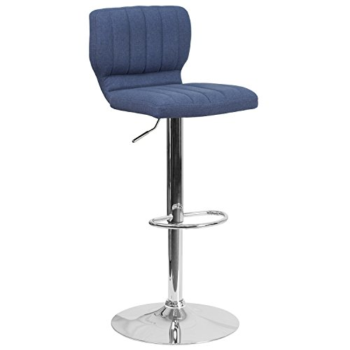 Flash Furniture Contemporary Blue Fabric Adjustable Height Barstool with Chrome Base (Chrome Counter Bar Stool)