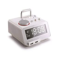 Homtime Docking Station Speaker with Alarm Clock Radio Bluetooth Dual USB Charger for iPhone x 8plus 8 7plus 7 iPod for Bedrooms MFi Certified (White)