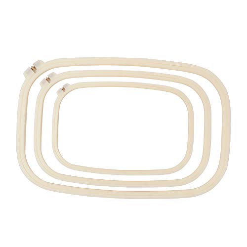 Fitlyiee 3 PCS Square Embroidery Quilting Hoops Adjustable Cross Stitch Hoop Ring for Arts Crafts Sewing (Hand Quilting Square Hoop)