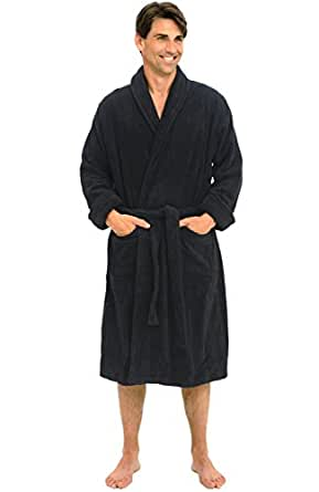 Del Rossa Mens Turkish Terry Cloth Robe, Thick Bathrobe, Small Medium Black (A0106BLKMD)