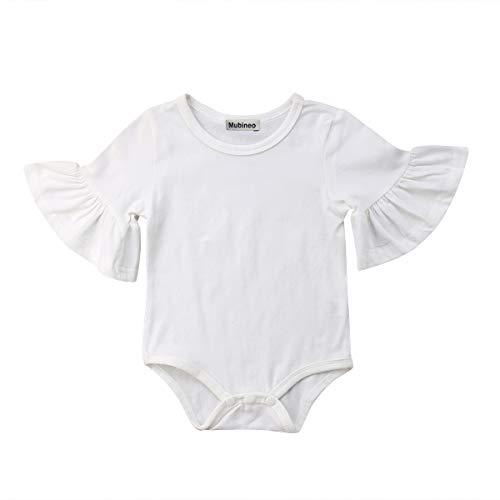 (Infant Baby Girl Basic Bell Short Sleeve Cotton Romper Bodysuit Tops Clothes (White, 0-3)