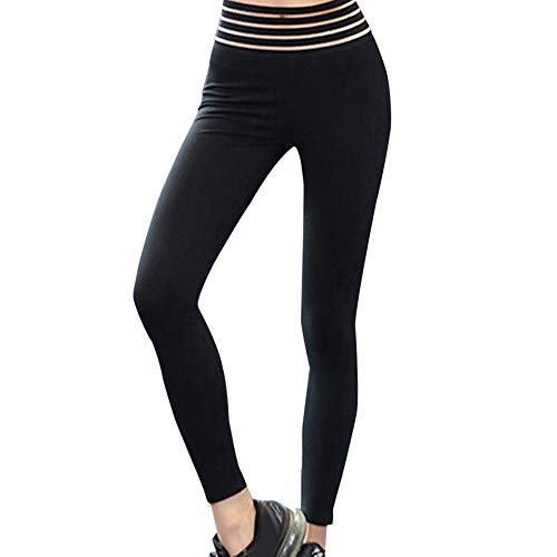 LiPing Women Fashion High Elasticity High Waist Leggings Gym Active Pleated Pants Running Yoga Athletic Pants Elastic Stretch Shaper for Legs (XL=Hip:89cm/35.0'', Black)