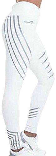 LD Womens Vintage Striped Print Ventilation Yoga Sports Leggings Tights