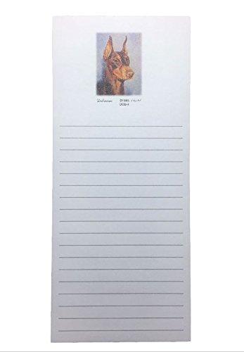 Red Doberman Pinscher Dog Magnetic Refrigerator List Pad ()