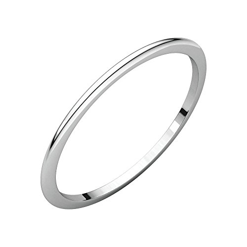Platinum 1.5mm Half Round Band, Ring Size 5 by Security Jewelers