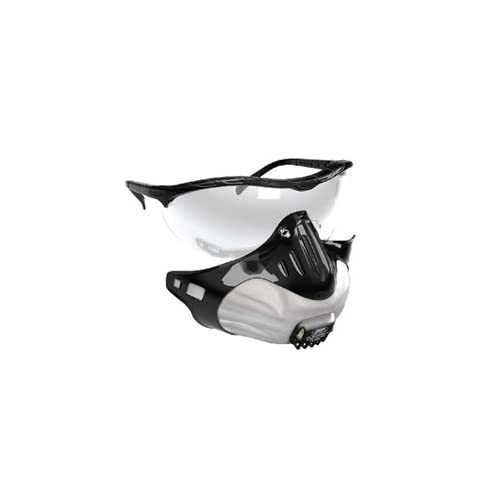 FILTERSPEC ANTI DUST SYSTEM, Black Frame Spectacle, CLEAR LENS, Filter Mask - Combination Eye/Respiratory Protection With 3 FMP2 VALVED Filters, Boxed. INCLUDES pair disposableable ear plugs for Noisy Workplaces.