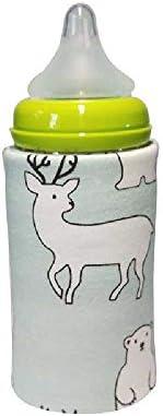 Tragbare Flasche Wärmer Heizung Reise Baby Kinder Cartoon Milch Wasser USB-Schutzhülle Tasche Kleinkind Heizbecher Tasche Grün