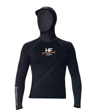 Hyperflex Wetsuits Men's Polyolefin L/S Hooded Rash Guard, Black, Small - Surfing, Windsurfing & (Polyolefin Rash Guard)
