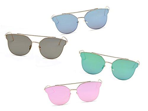 Cramilo Fashion Designer Round Cateye Women Sunglasses Flat Mirror - For Female Glasses 2016 Face Round